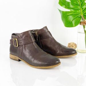 Franco Sarto Holmes Ankle Boot Brown Leather Gold